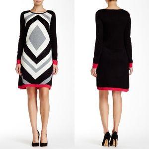 Eliza J Sweater Dress Diamond Black Pink White
